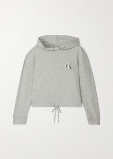 Calvin Klein Printed Mélange Cotton-blend Jersey Hoodie