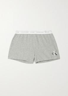 Calvin Klein Printed Mélange Cotton-blend Jersey Shorts