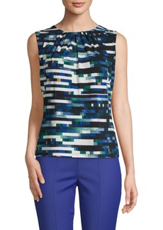 Calvin Klein Printed Pleat-Neck Camisole