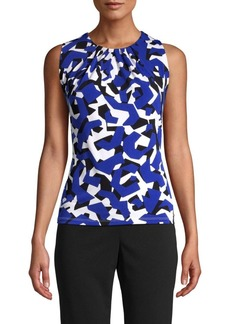 Calvin Klein Printed Pleated Neck Tank