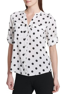 Calvin Klein Printed Roll-Sleeve Button-Down Shirt