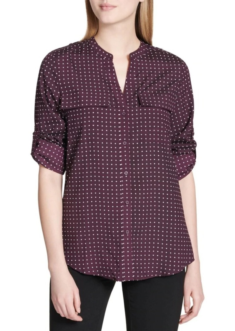 Calvin Klein Printed Roll-Tab Top