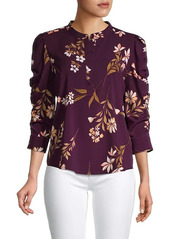 Calvin Klein Printed Ruched Sleeve Blouse