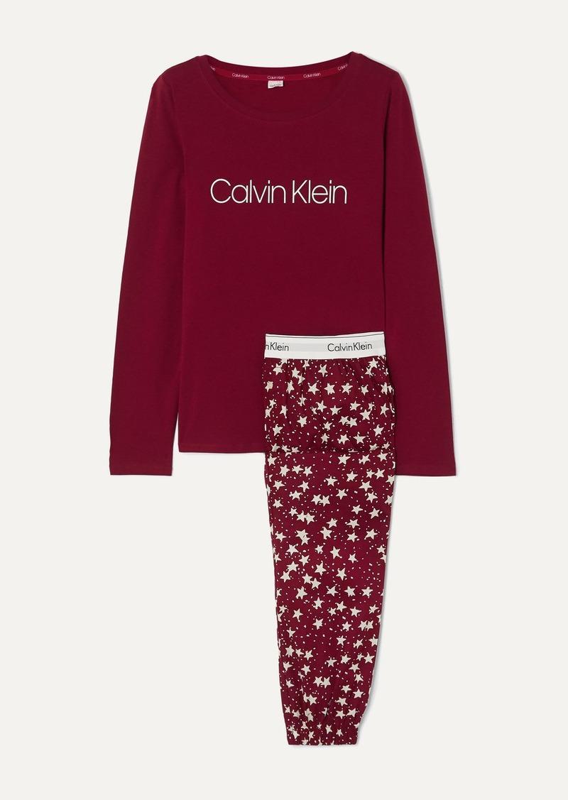 Calvin Klein Printed Stretch-cotton Jersey Pajama Set