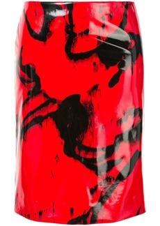 Calvin Klein printed vinyl-effect skirt