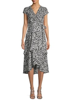 Calvin Klein Printed Wrap Midi Dress