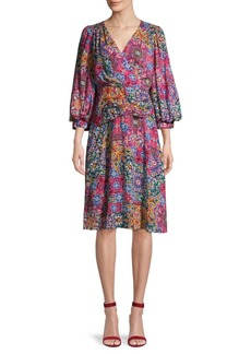 Calvin Klein Puff-Sleeve Print Dress