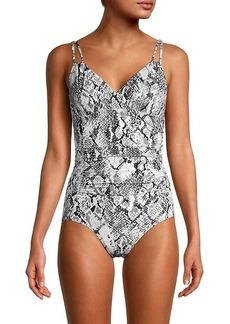 Calvin Klein Python-Print One-Piece Swimsuit