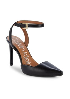 Calvin Klein Raffaela Leather Ankle-Strap Pumps