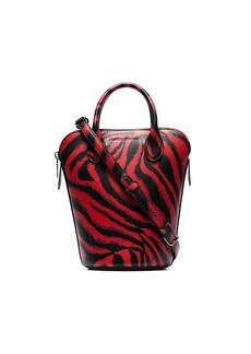 Calvin Klein Red Dalton mini tiger print leather bucket bag