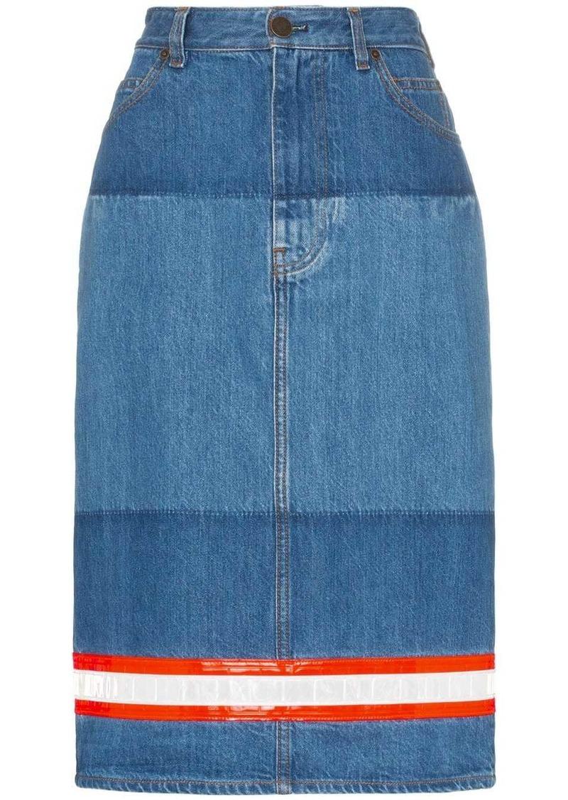 Calvin Klein Reflective tape denim pencil skirt