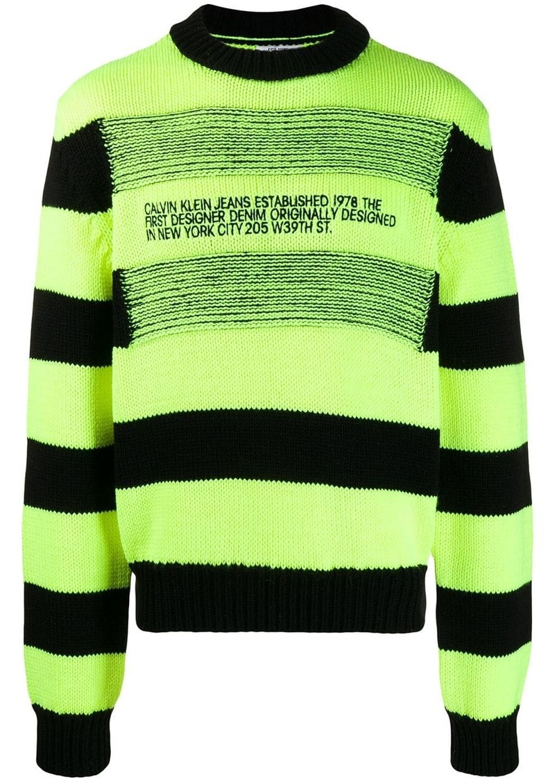 Calvin Klein reverse-stripe logo jumper