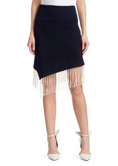 Calvin Klein Rib Knit Asymmetrical Fringe Skirt