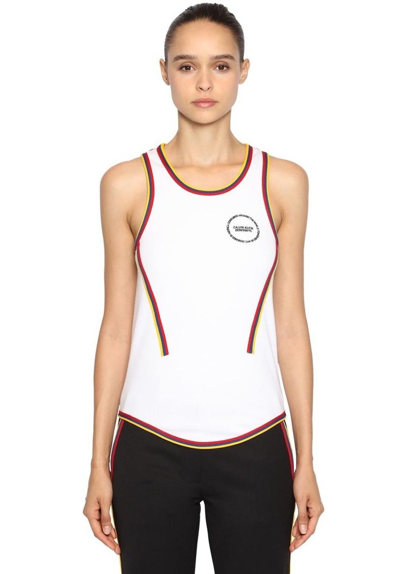 Calvin Klein Ribbed Cotton Top W/ Logo Patch