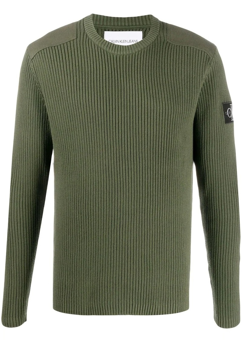 Calvin Klein ribbed logo patch jumper