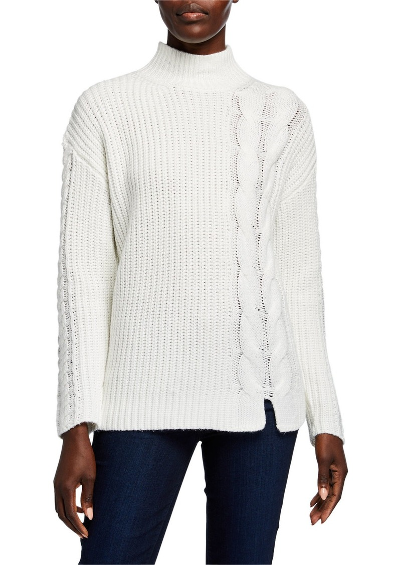 Calvin Klein Ribbed Mock-Neck Sweater w/ Cable-Knit Detail