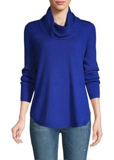 Calvin Klein Ribbed-Sleeve Cowlneck Top