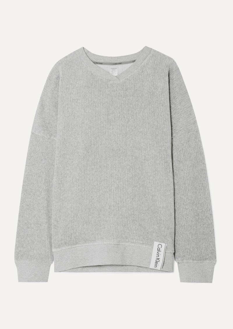 Calvin Klein Ribbed Stretch-velour Sweatshirt