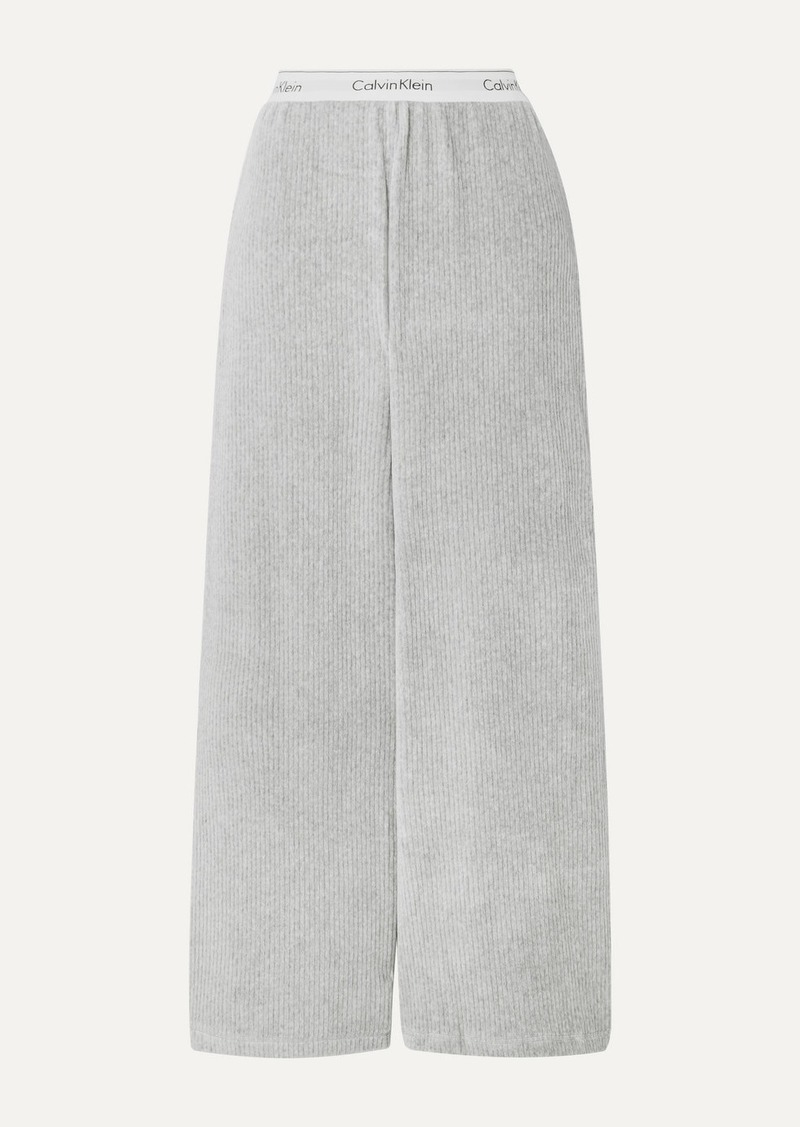 Calvin Klein Ribbed Stretch-velour Track Pants