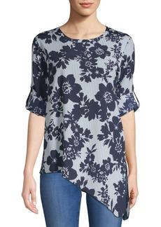 Calvin Klein Roll Sleeve Hi-Lo Floral Top