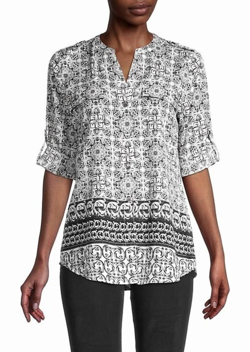 Calvin Klein Roll-Sleeve Print Shirt