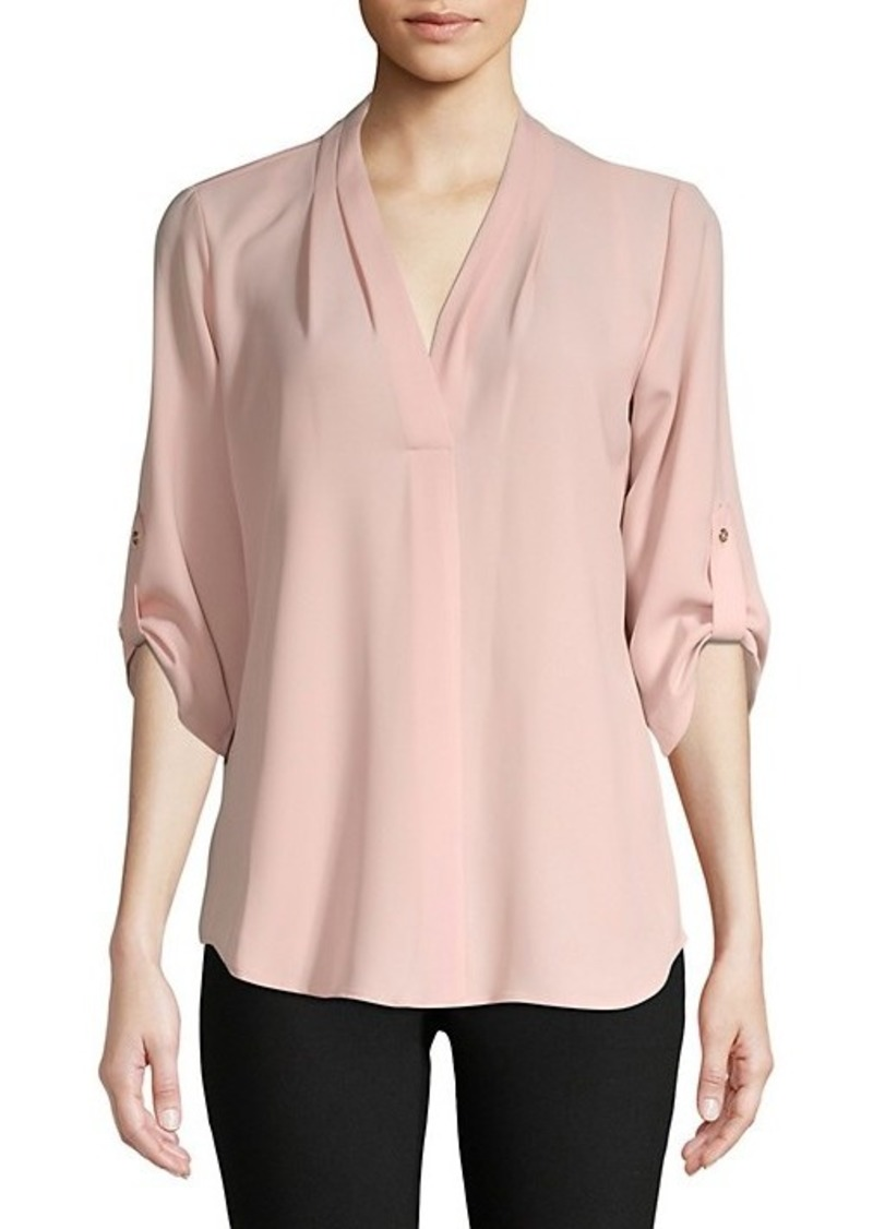 Calvin Klein Roll-Sleeve Split-Neck Top