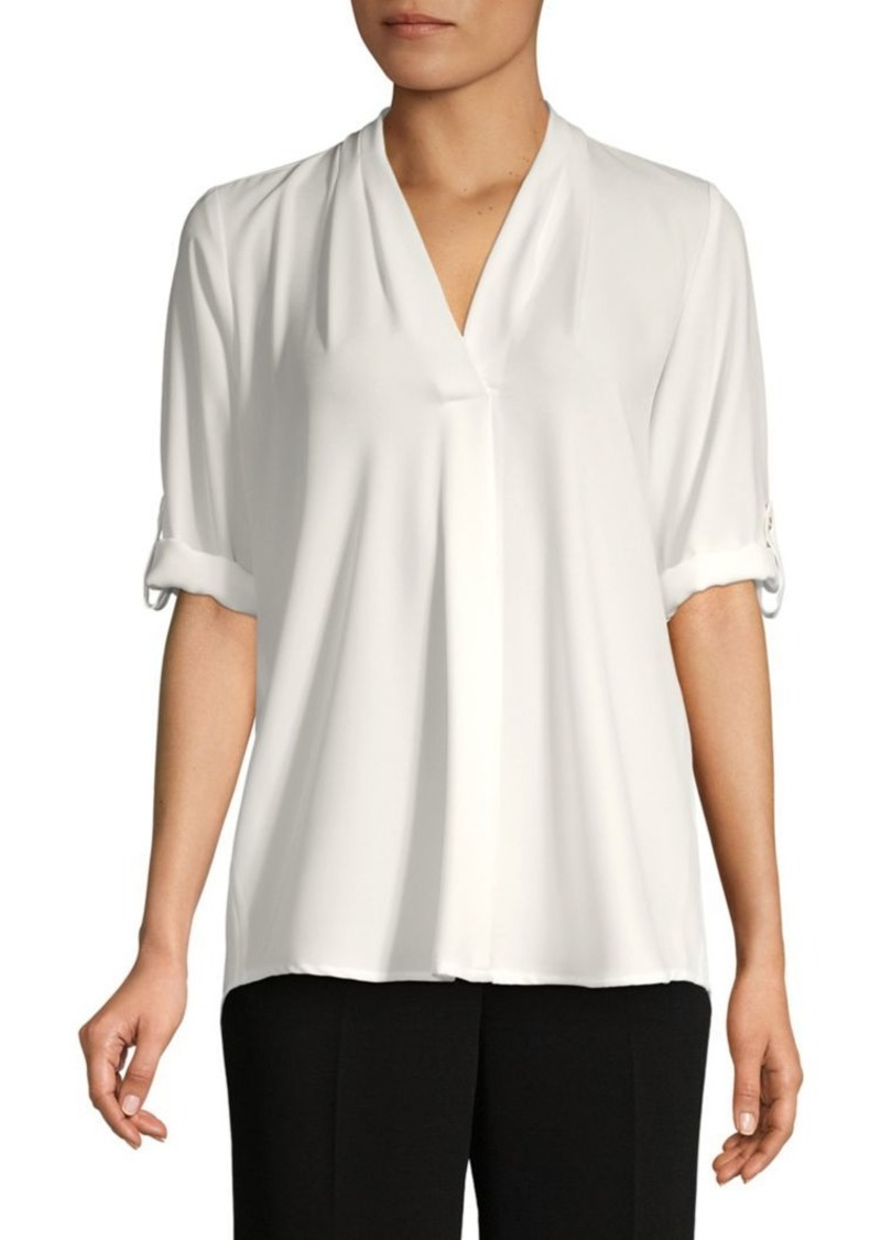 Calvin Klein Roll-Sleeve Split-Neck Top