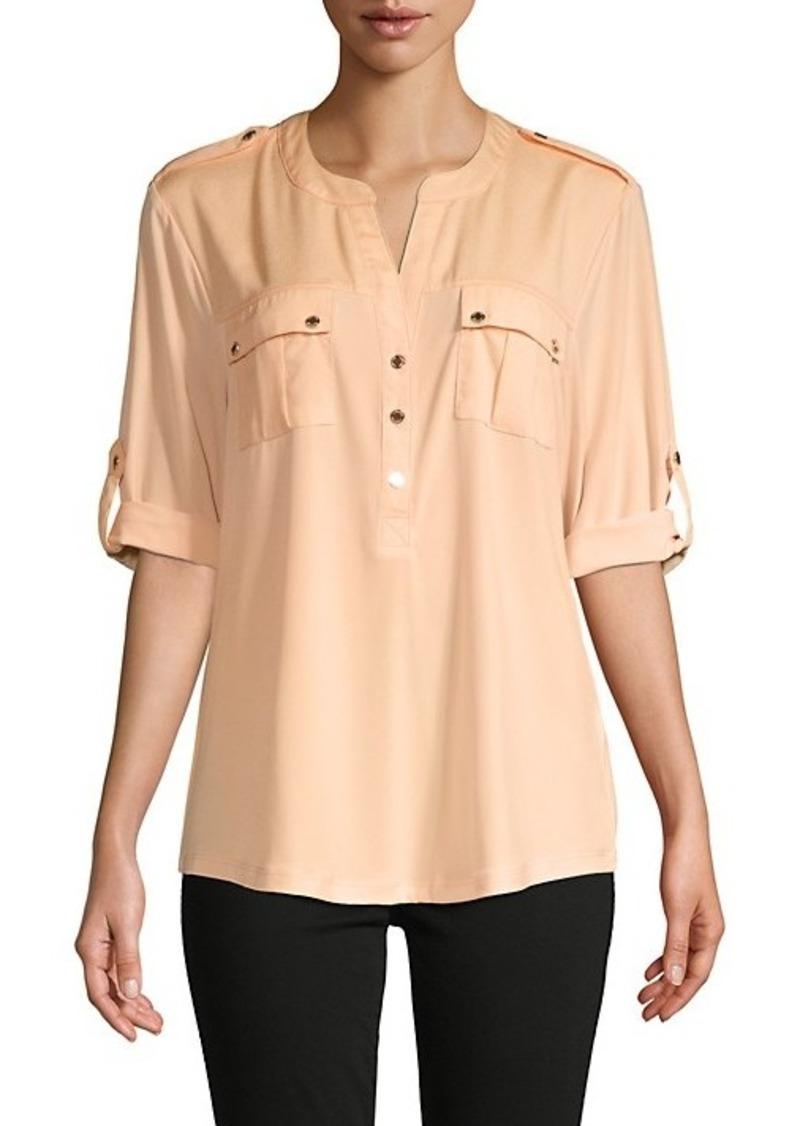Calvin Klein Rolled-Sleeve Pocket Blouse