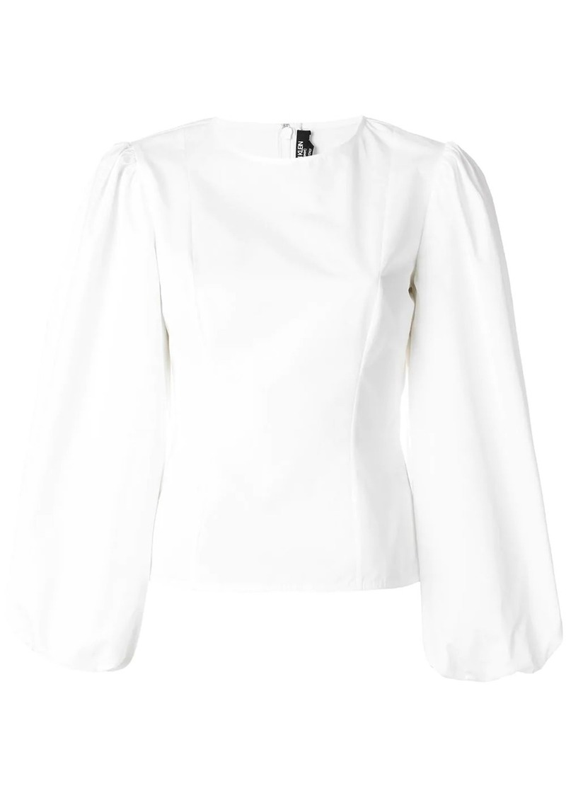 Calvin Klein round sleeve poplin top