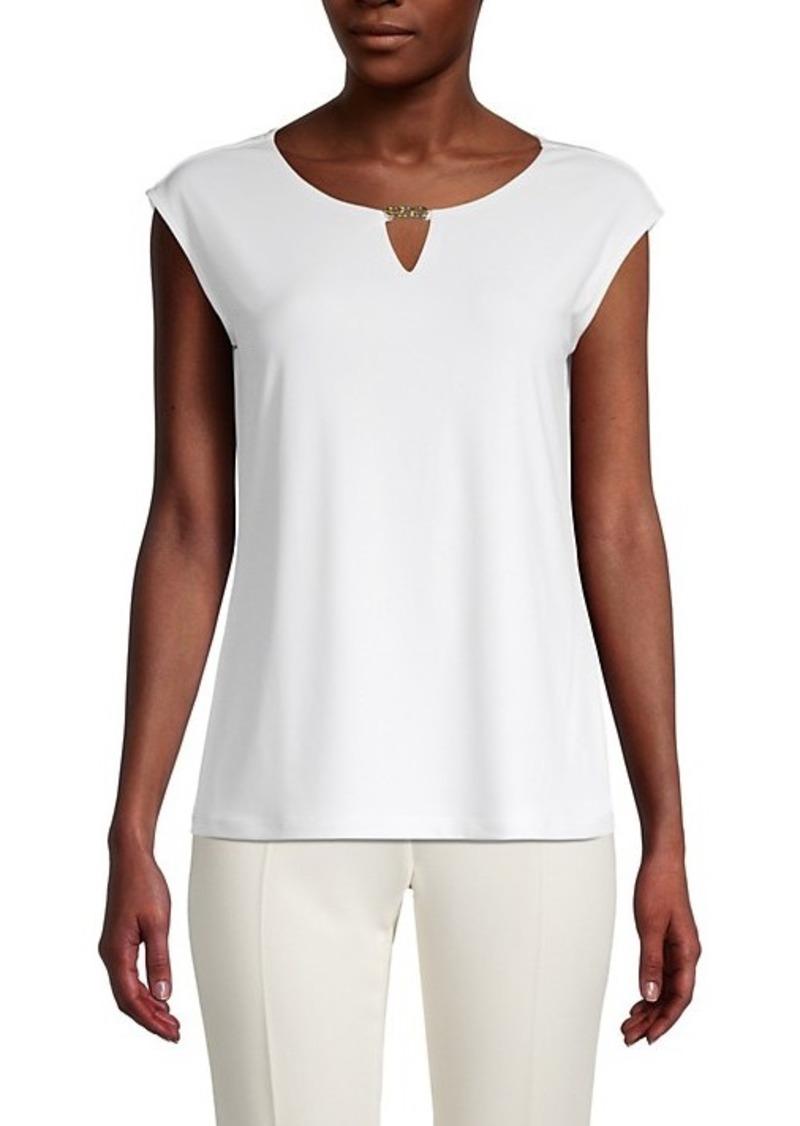 Calvin Klein Roundneck Cap-Sleeve Top