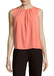 Calvin Klein Roundneck Sleeveless Pleated Top