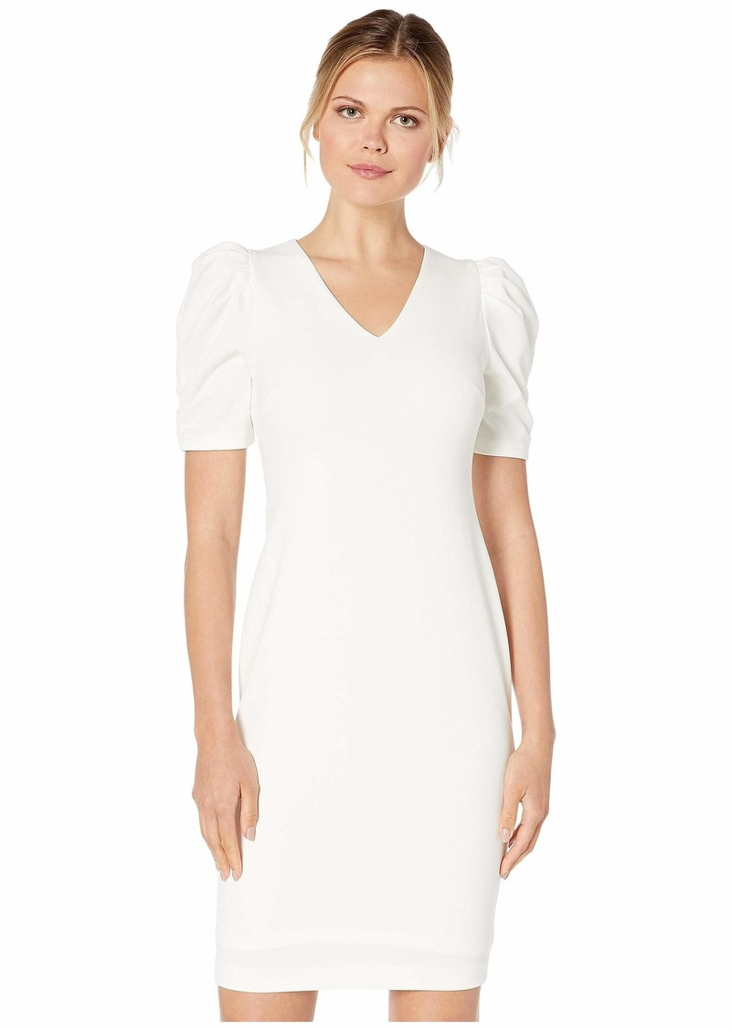 Calvin Klein Ruched Puff Sleeve Sheath Dress