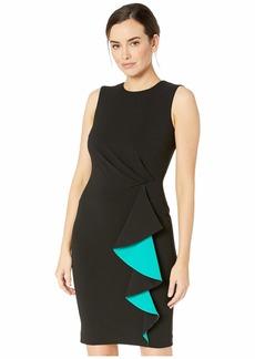 Calvin Klein Ruched Sheath Dress w/ Ruffle Contrast Lining