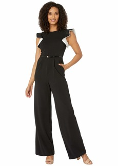 Calvin Klein Ruffle Arm Jumpsuit with Contrast Lining