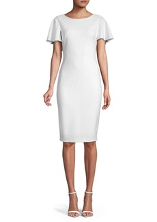 Calvin Klein Ruffle Cape Sheath Dress