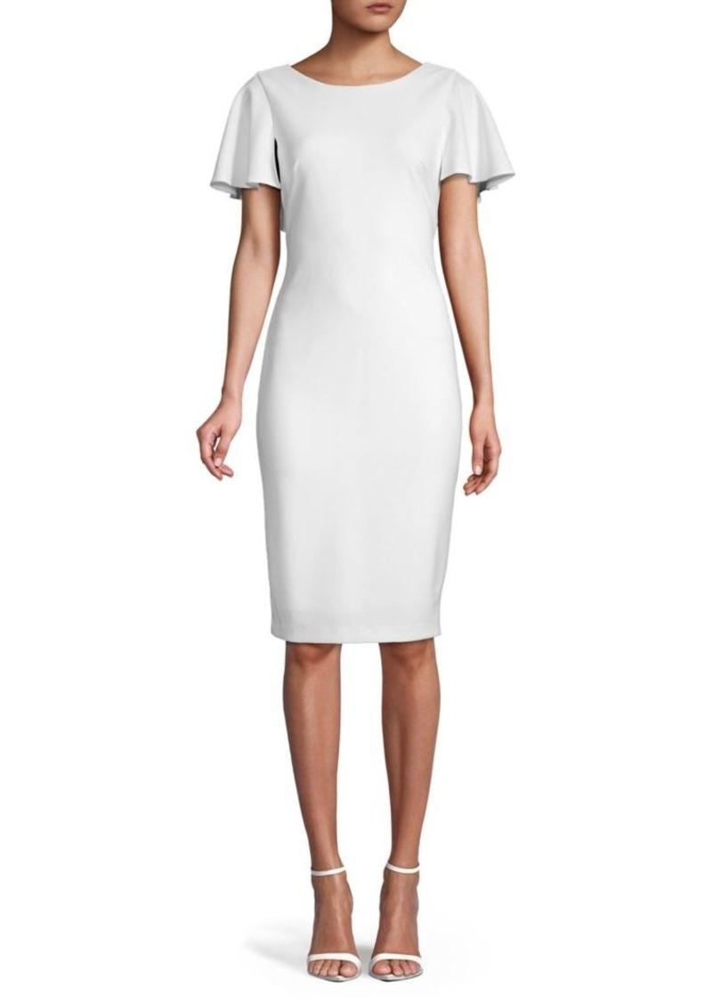 Calvin Klein Ruffle Cape Sheath Dress