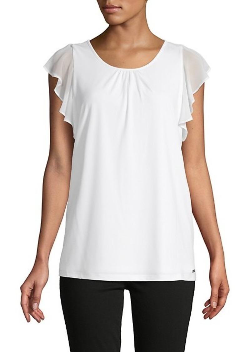 Calvin Klein Ruffle Flutter-Sleeve Top