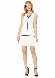 Calvin Klein Ruffle Hem Dress with Piping Trim Detail