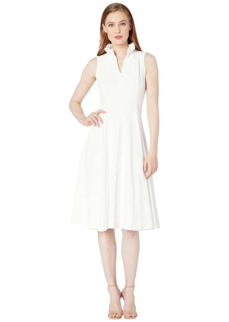 Calvin Klein Ruffle Neck A-Line Dress