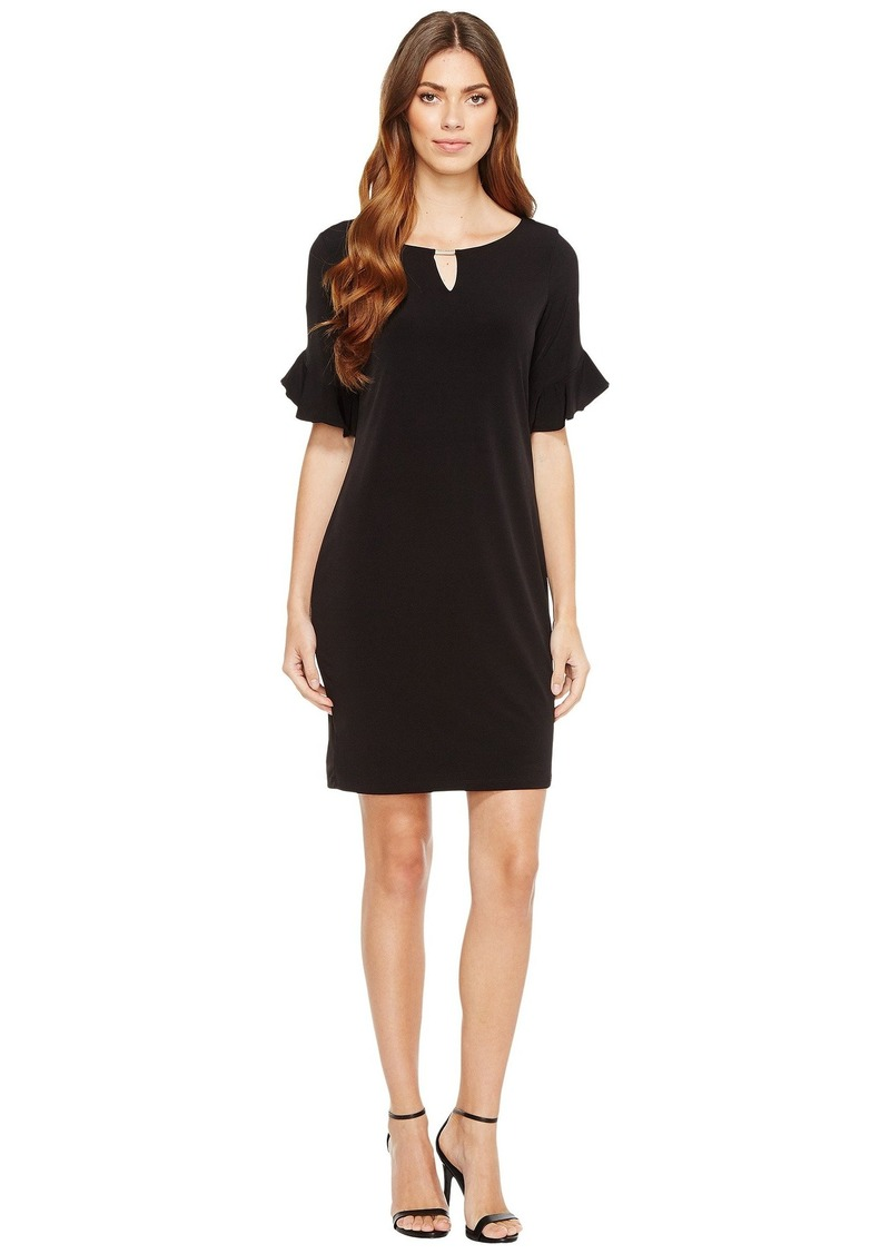 Calvin Klein Ruffle Sleeve Dress with Hardware
