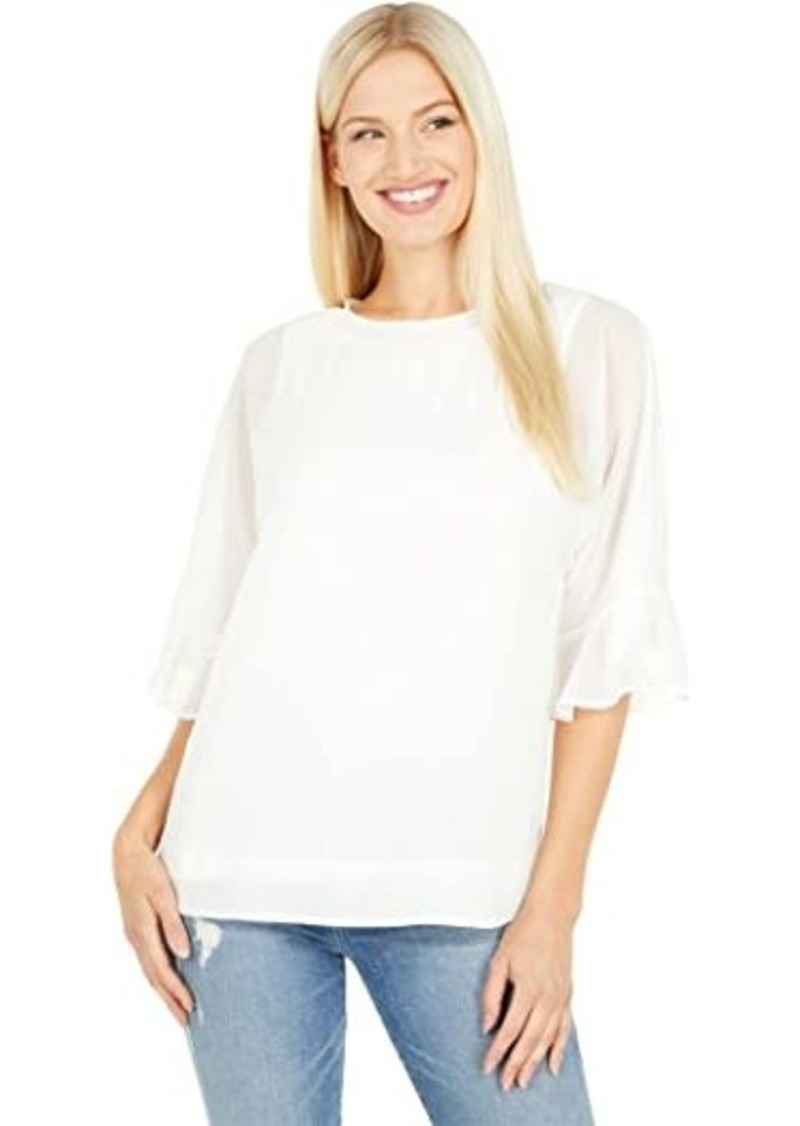 Calvin Klein Ruffle Sleeved Blouse with Knit Trim