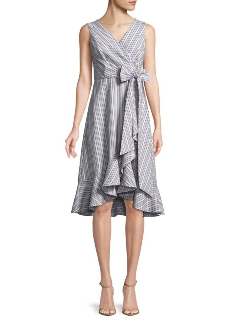 Calvin Klein Ruffle Trim Wrap Dress