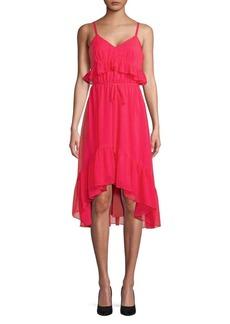 Calvin Klein Ruffle V-Neck Hi-Lo Dress