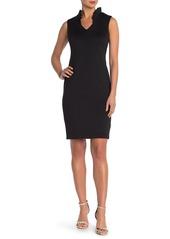 Calvin Klein Ruffle V-Neck Scuba Sheath Dress