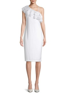 Calvin Klein Ruffled Asymmetrical Neck Dress