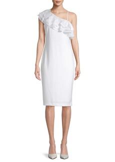 Calvin Klein Ruffled Asymmetrical Neck Dress