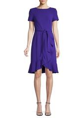 Calvin Klein Ruffled Belted Knee-Length Dress