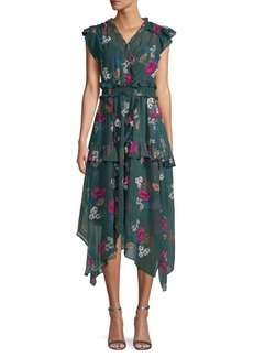 Calvin Klein Ruffled Floral Dress