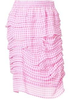 Calvin Klein ruffled gingham pencil skirt