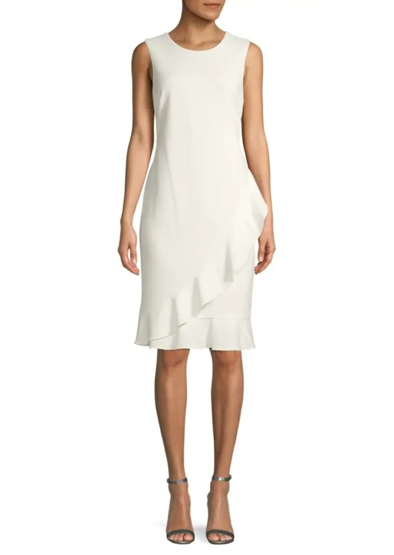 Calvin Klein Ruffled Knee-Length Sheath Dress